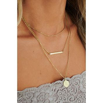 Set The Bar High Layered Necklace (Antique Gold)