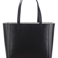 Black Leather Open Tote