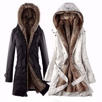 Women Faux Fur Hooded Jacket