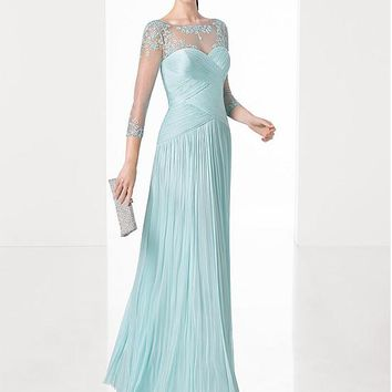 [116.99] Attractive Dense Tulle Bateau Neckline A-line Evening Dresses With Beaded Embroidery - dressilyme.com