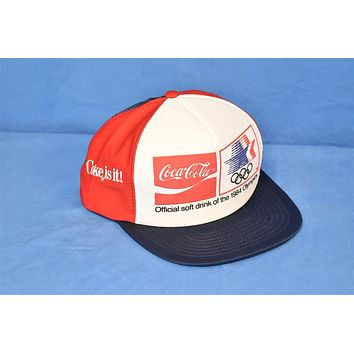 80s Coca Cola Coke Is It 1984 Olympics Snapback Hat