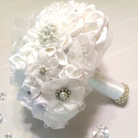 White pearl and rhinestone brooches and handmade satin ribbon bouquet, White pearl and rhinestone brooch bouquet, White fabric bouquet