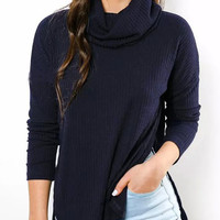 Navy Blue High Neck Knitted Asymmetric Slit Sweater