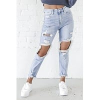 Too Distressed To Stress High Rise Denim