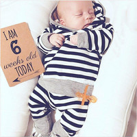 Fashion Toddler Striped Hooded Top Cute Baby Girl Striped Pants Baby Boy Autumn Outfits Casual Infant 2PCS Clothing Set