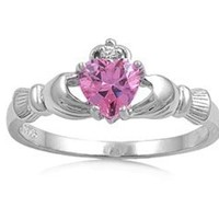 .925 Sterling Silver Claddagh Ring with Pink Color Cz Heart Stone Size 4,5,6,7,8,9,10; Comes with Free Gift Box
