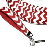 Matching Red Chevron Steering Wheel Cover and Wristlet Key Fob Set Cute Car Accessory Girly Car Wheel Cover Riley Blake Design Made in USA