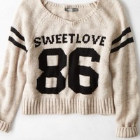 AEO Women's Don't Ask Why Cropped Varsity Sweater (Natural)
