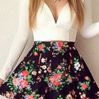 White Long Sleeve Floral Printed Printed Skater Dress