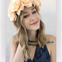 EZRA FLOWER CROWN- BEIGE
