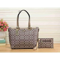 COACH Popular Women Shopping Bag Leather Tote Handbag Shoulder Bag Two Piece Khaki I-KSPJ-BBDL