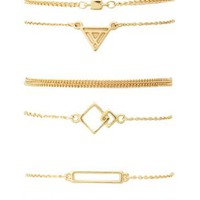 Geometric Charm Bracelets - 6 Pack by Charlotte Russe - Gold