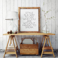 Fashion Print Home decor Printable GIft Women Fashionista Fashion Quote Motivational Art Typography Keep Your Heels Head and Standards High