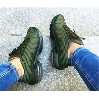 NIKE Air Vapormax Plus Popular Men Casual Air Cushion Sports Shoes Sneakers Army Green I-CSXY