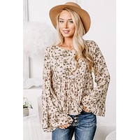 Steady Blooming Bell Sleeve Babydoll Top