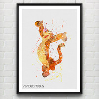 Tigger Winnie the Pooh Disney Watercolor Poster Art Print, Baby Nursery Wall Art, Kids Decor, Not Framed, Gift, Buy 2 Get 1 Free! [No. 223]