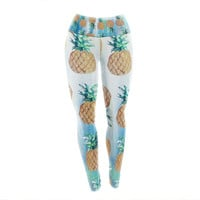 "Nikki Strange ""Pineapple Beach"" Blue Brown Yoga Leggings"
