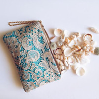 Turquoise Gold Lace Clutch. Venice Embroidered clutch. Bridesmaid Blue Floral Lace Clutch. Free US shipping