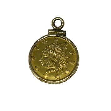 Antique 1849 California Gold Rush Round Series Gold Coin Token Indian No Date on Front
