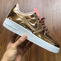 Air Force 1 Low liquid metal color spirts shoes women men sneaker gold