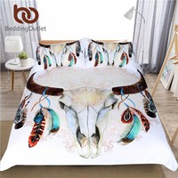 BeddingOutlet Skull Feathers Bedding Set Tribal Duvet Cover Indian Bohemian Floral Print Bedclothes Double Multi Colors 3-Piece