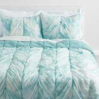 Aqua and White Tie Dye Ruched Alexa Bedding Collection