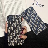 Dior new letter embroidery iPhone 11 mobile phone shell xsmax hard shell 11promax iPhone7 embroidery 8P cloth surface X protective shell