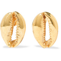 Tohum - Large Puka gold-plated earrings