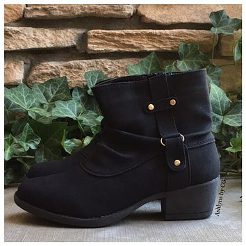 EXTRA SPECIAL SALE-Cozy Slouchy Black Ankle Bootie Boots