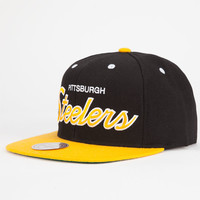 Mitchell & Ness Pittsburgh Steelers Mens Snapback Hat Black/Yellow One Size For Men 25699292801