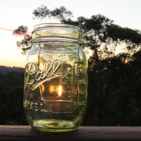 Lime green transparent Ball Mason jar with tea light candle lantern , handmade hand assembled in Sydney, Australia