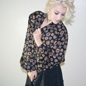1980s 1990s gold black brown paisley blouse patterned vintage retro soft grunge hipster urban outfitters 90s 80s goth