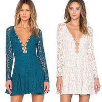 2016 Lace Sexy Slim Strappy V Neck Erotic Casual Party Playsuit Bodycon Boho Dress _ 3627