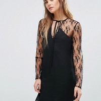 Fashion Union Lace Dress With Choker Neck Tie at asos.com