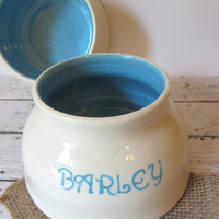 Spaniel water and food bowl - white - personalized