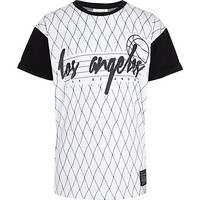 River Island Boys white LA mesh block t-shirt