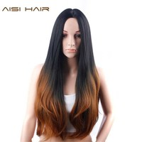 AISI HAIR Synehetic Long Ombre Wigs For Women Wavy Black Brown Hair