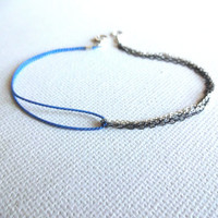 Handmade Delicate 925 Sterling Silver Fringe Delicate Mixed Mediums Bracelet or Anklet; Blue Silk and Sterling Silver Double Chain Jewelry