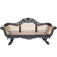 Anglo-Indian Carved Ebony Settee from Ceylon