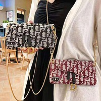 DIOR Fashion New Embroidery More Letter Shoulder Hang Protective Cover Phone Case