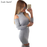 Simplee Apparel Winter sexy off shoulder knitted dress Women evening party bodycon dress sweater Christmas vestidos de fiesta OL