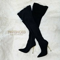 """CR Holden Black Stretch Faux Suede Wide Top 4.5"""" High Heel Thigh High Boots"""