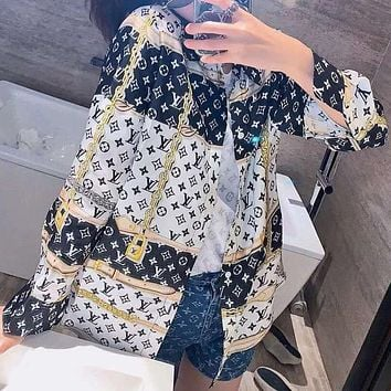 Louis Vuitton LV new letter printed stitching long-sleeved couple fashion shirt shirt