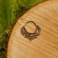septum ring lotus brass 1.2mm 16g, tribal tragus cartilage gold hoop wire pierced nose