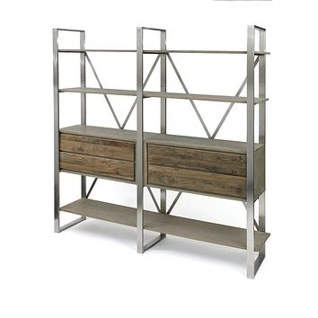 Industrial Wood and Steel 4 Shelve and Drawers Bookshelf By Go Home Ltd. 13201