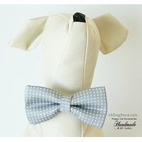 Polka dots Gray dog bow tie attached to collar, Puppy, Cat birthday gift, Small Collar , Wedding dog collar