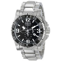 Invicta 80607 Men's Excursion Reserve Chronograph Black Dial Steel Bracelet Dive Watch