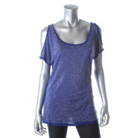 INC Womens Knit Studded Scoop Neck Pullover Top