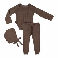 Teela Unisex-Baby Toffee Cable Knit Set