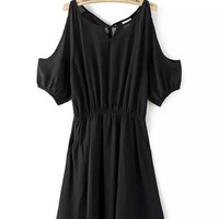 Black Cut-Out Shoulder Elastic Waist Dress
